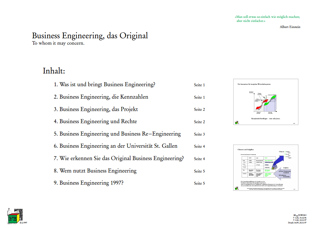 Business Engineering, das Original